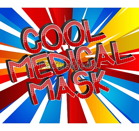 cool medical mask comic book style