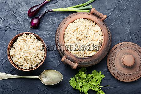 boiled pearl barley on plate