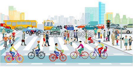 cyclists on the bike path in