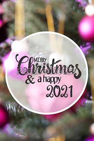 pink ball blurry chrismas tree merry