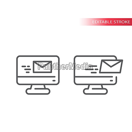 e mail on computer screen thin
