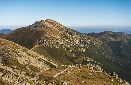 mountain ridge with hiking trail