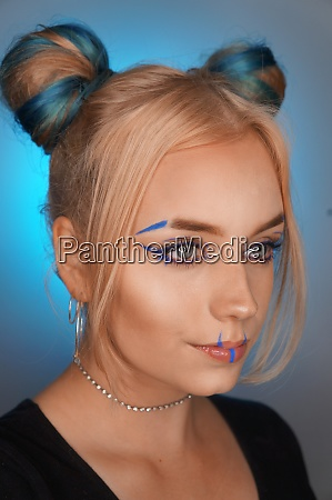 young blond woman with makeup