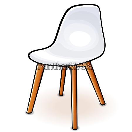 vector white hull chair cartoon