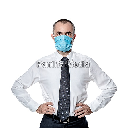 businessman surgical mask for protection against