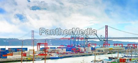 lisbon commercial port panorama bridge