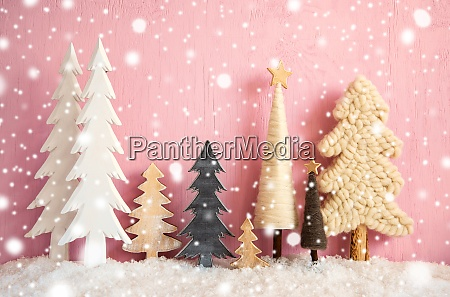 christmas trees snow pink grungy wooden