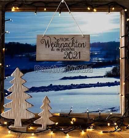 christmas tree window winter scenery glueckliches