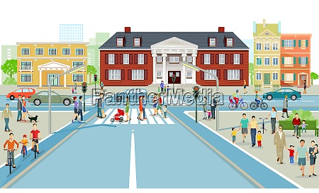 road traffic with pedestrians on the