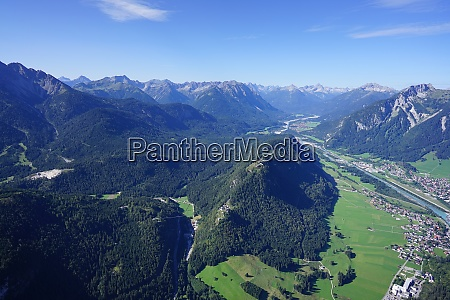 aerial view of valleys and mountains