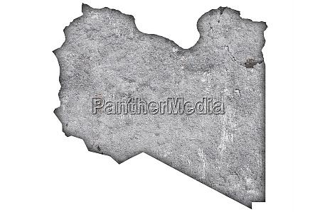 map of libya on weathered concrete
