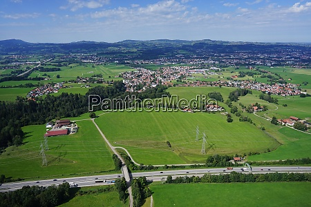 aerial view of the landscape with