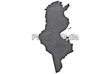 map of tunisia on dark slate