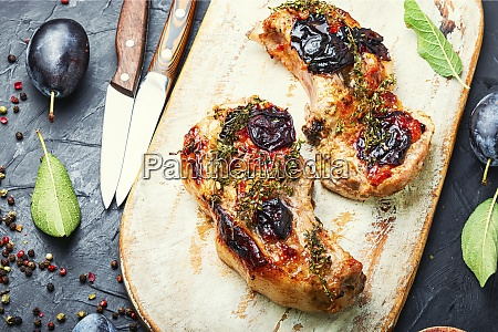 fried meat with plum