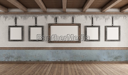 retro style art gallery with blank