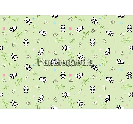 seamless baby pattern with panda bear