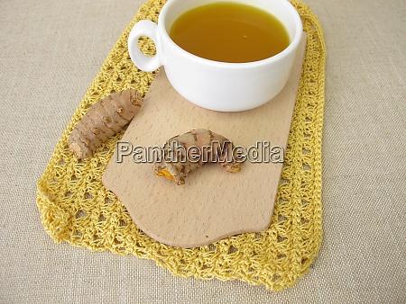 golden yellow tea with turmeric