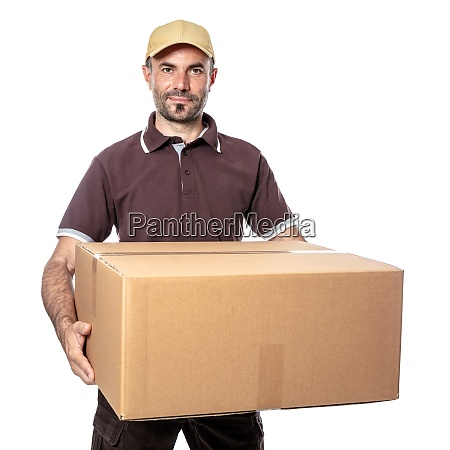 smiling worker with parcel in hands