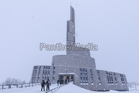northern lights cathedral striking architecture snow