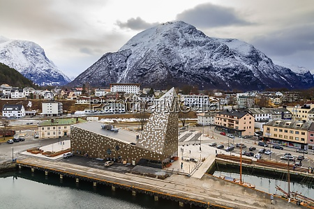 andalsnes town and snow capped mountain
