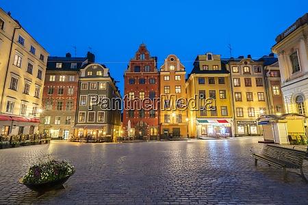 illuminated historic buildings at dusk stortorget