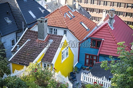tiled roof and colorful facades of