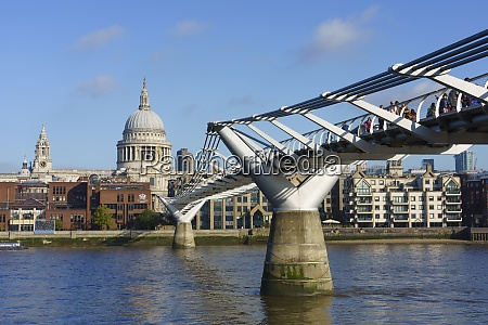 millennium bridge with st pauls cathedral