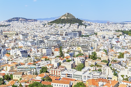 high angle view of athens city