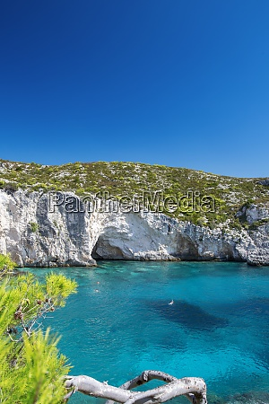 beautiful beach and people snorkeling zakinthos