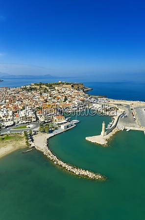aerial view by drone of rethymno