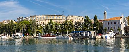 view of pula marina and roman