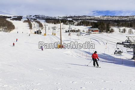 bjorli, village, , skiers, , piste, and, chair - 28834282
