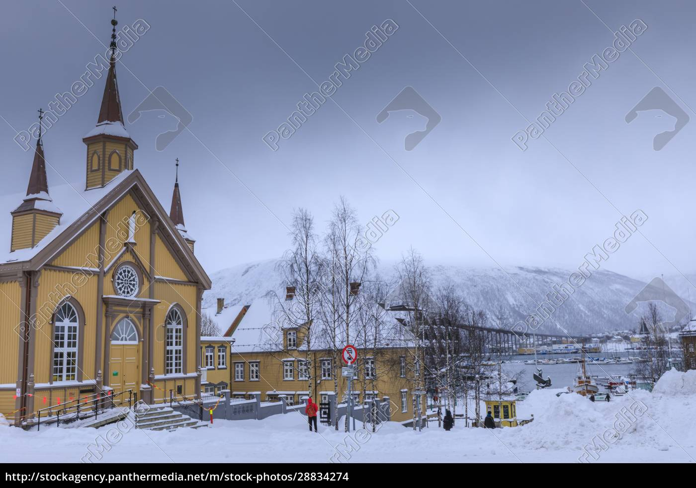 tromso, , after, heavy, snow, , catholic, cathedral, - 28834274