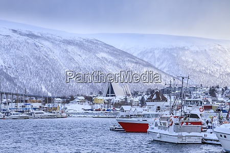 tromso, , small, boat, harbour, , fjord, , bridge, - 28834280