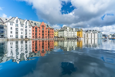 art nouveau styled houses mirrored in
