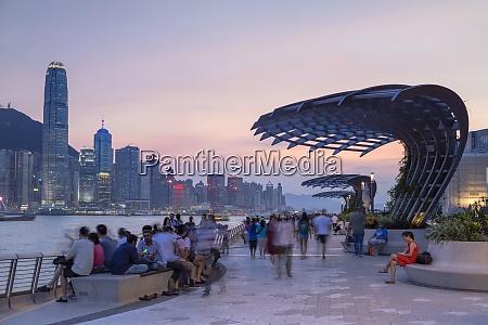 skyline of hong kong island and