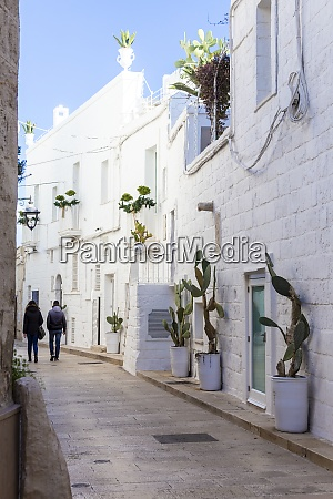 narrow white street in the historic