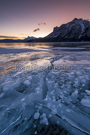 ice fissure at lake abraham kootenay