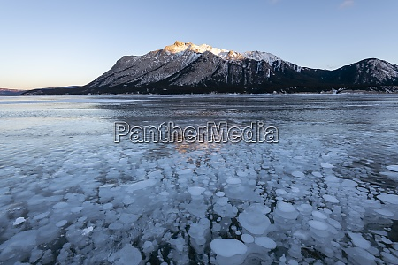 methane gas bubbles at lake abraham