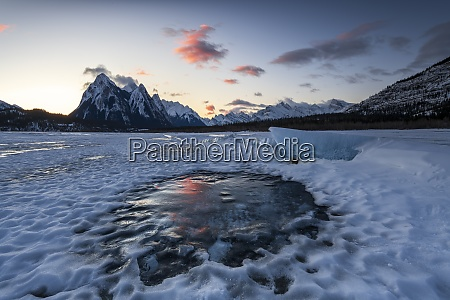 winter sunrise at lake abraham at