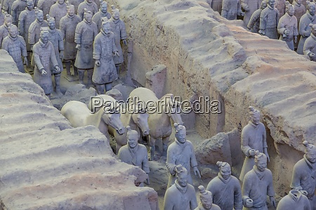 view of terracotta warriors in the