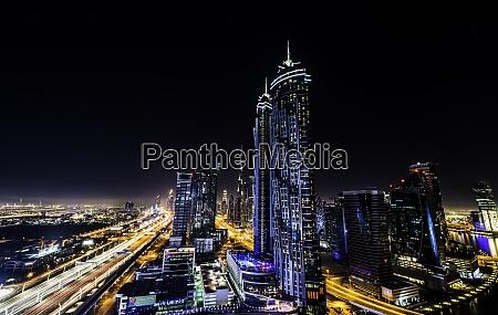 long exposure overlooking dubai at night