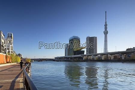 skytree and sumida river tokyo honshu