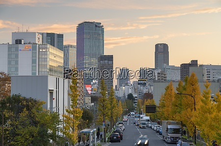 skyline of shibuya at sunset tokyo