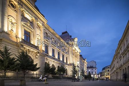 national bank of romania at night