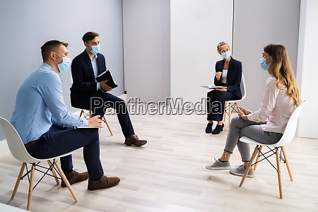 office meeting with social distancing