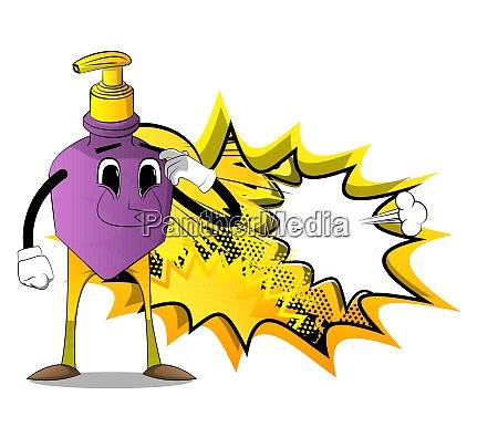 bottle of hand sanitizer gel confused