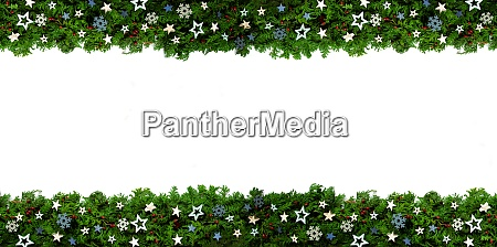 christmas banner and garland with green
