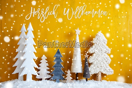 christmas trees snowflakes yellow background willkommen