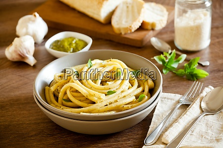 pasta with homemade pesto sauce